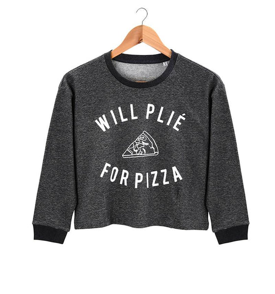 The Pizza Cropped Sweater-Heather Black