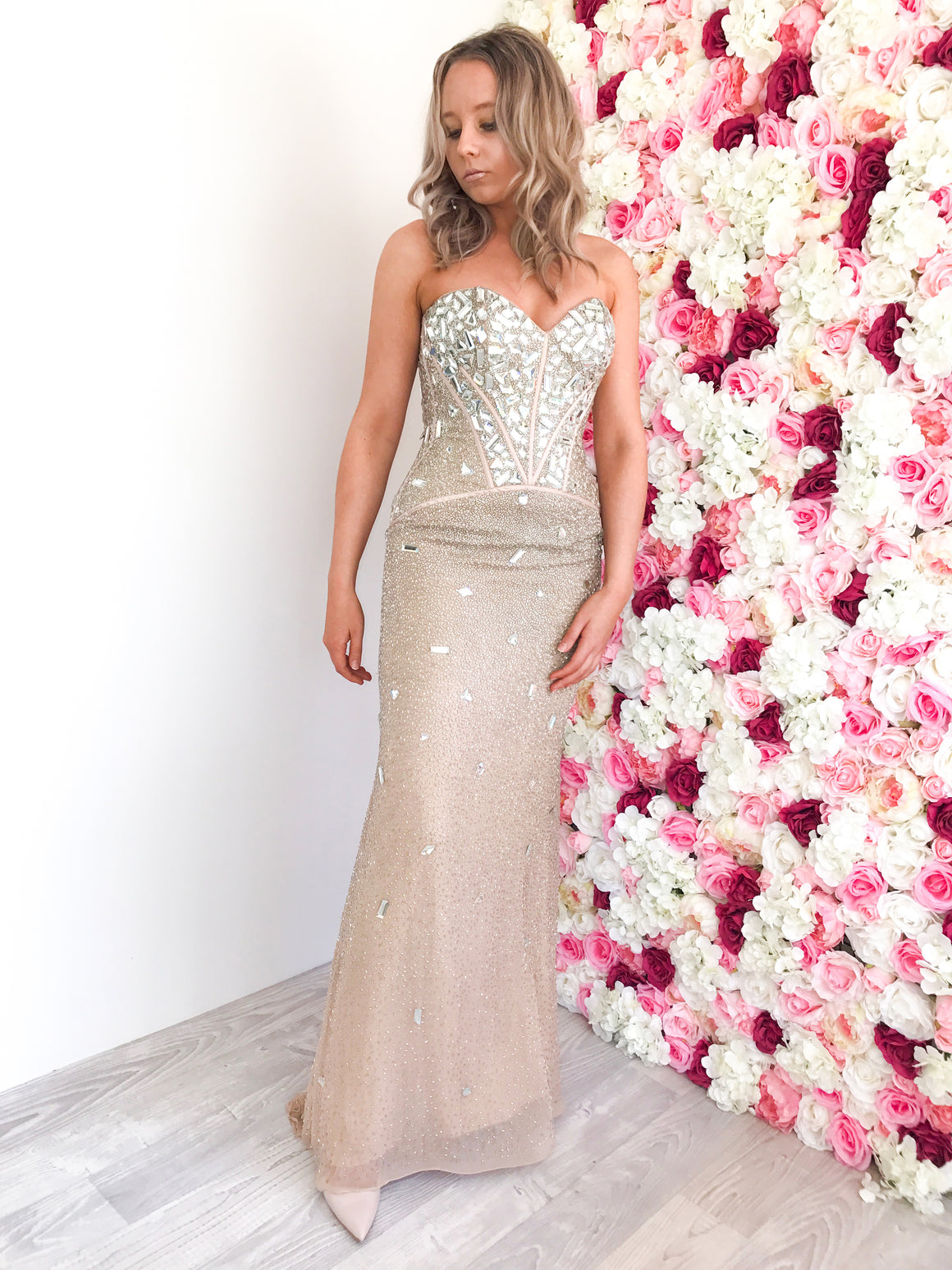 Champagne Beaded Evening Gown
