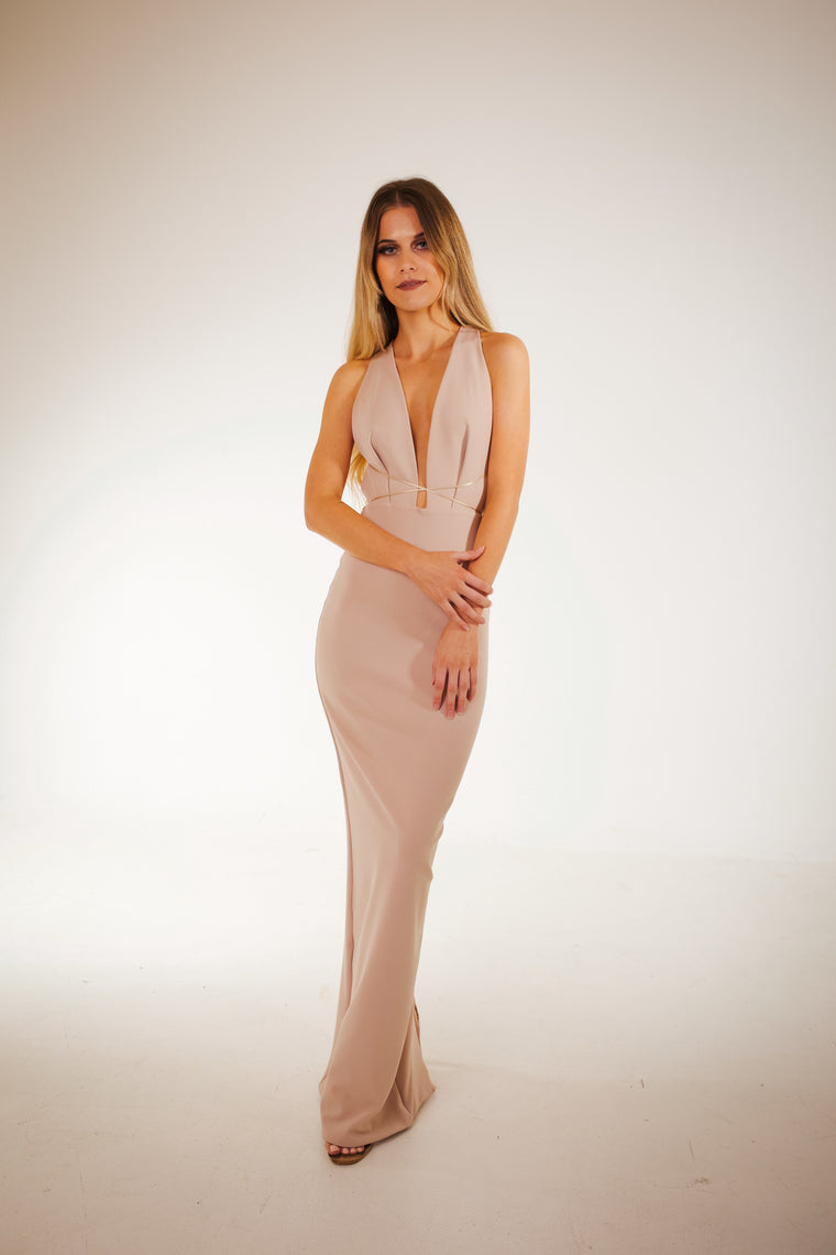 Mila gown in tan