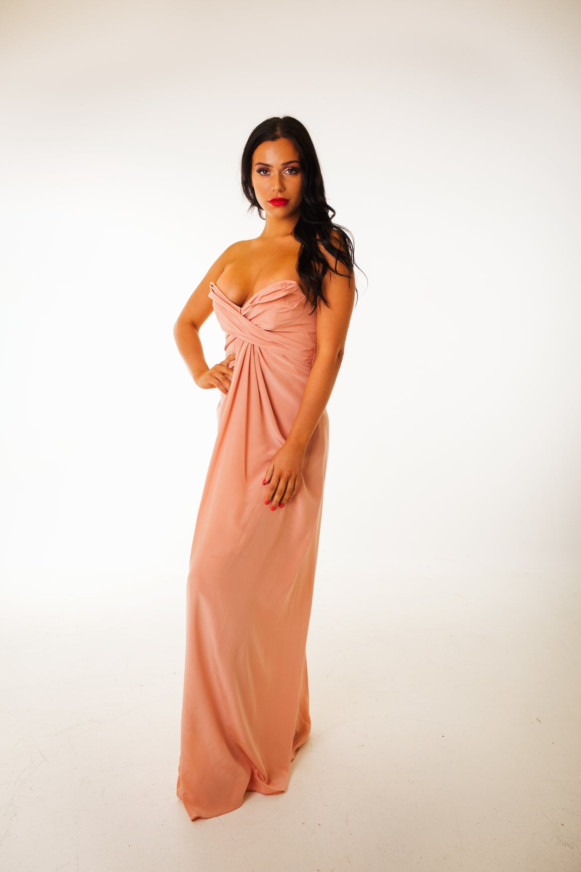 Peach silk gown