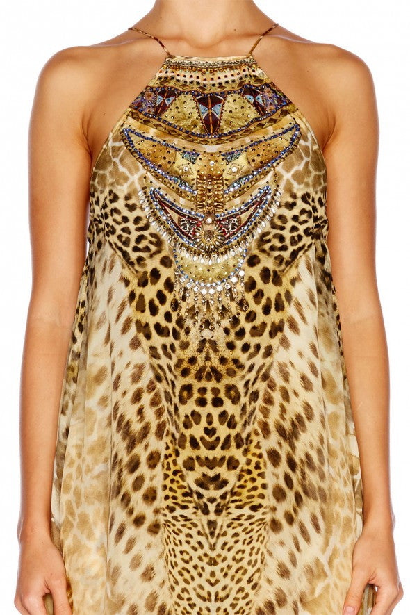 Leopards Leap Sheer Overlay Maxi Dress