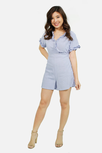 Light blue wrap ruffles linen romper