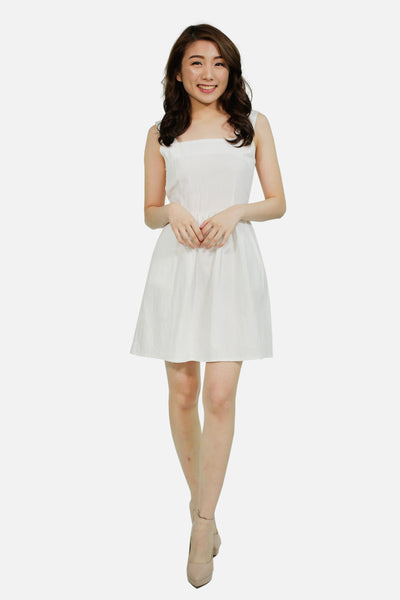 White linen front ribbon skater dress