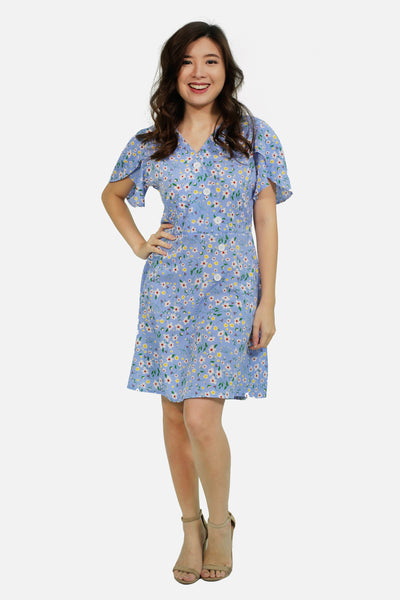 Light blue floral button sided with tie knot skater dress