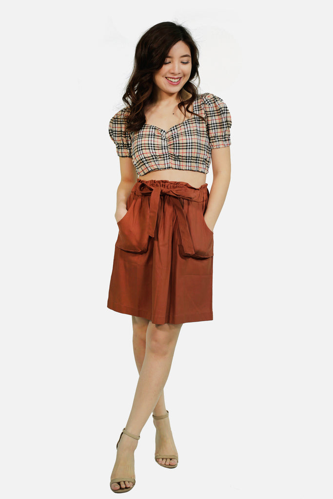 Brown catcha skirt with two pockets