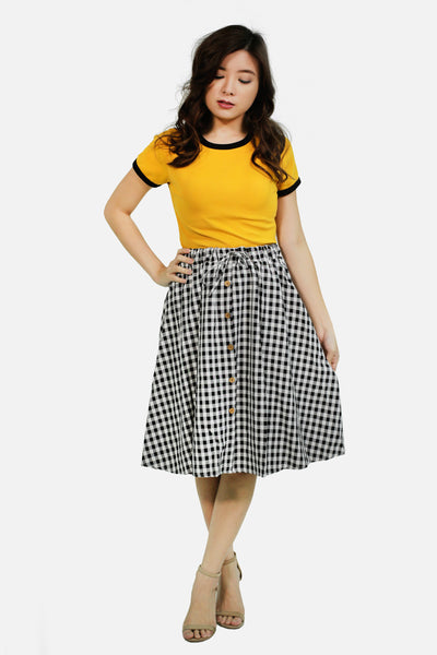 Black gingham skirt with button accent