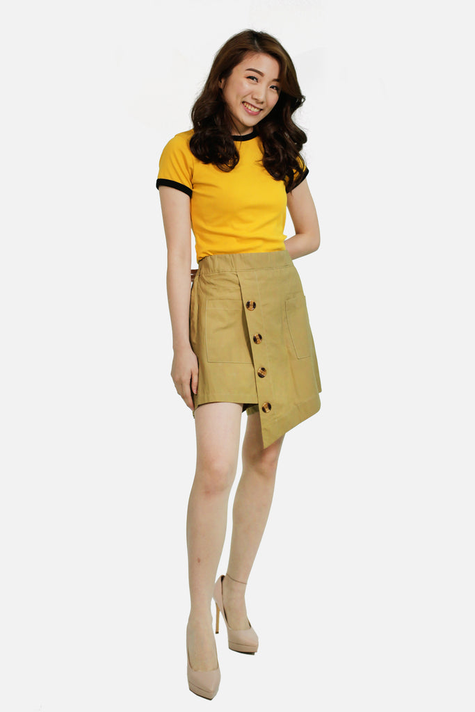 Beige Sided button accent skort