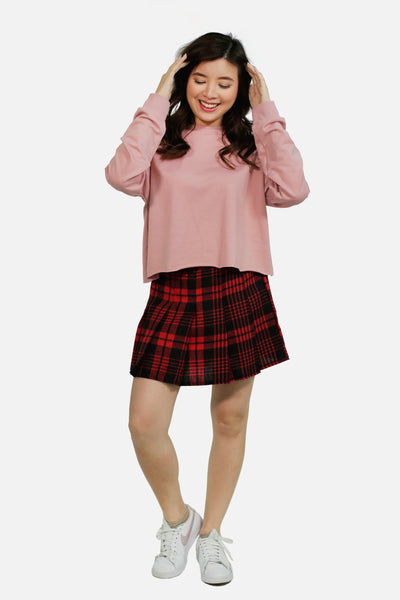 Red tartan pleated skirt with lining shorts