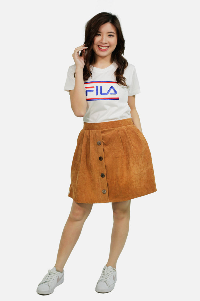 Brown cordoroy skirt with button accent and short lining