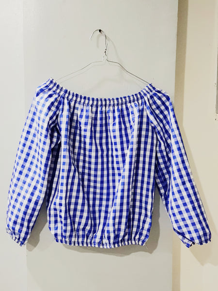 Royal blue checkered off shoulder