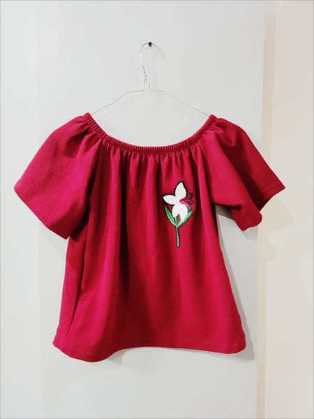Maroon off shoulder flower badgee