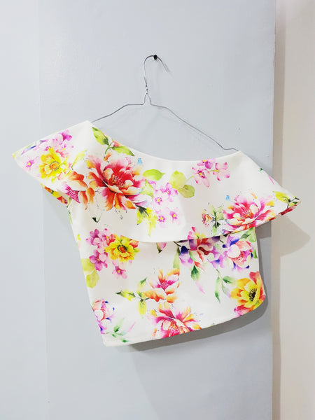 White sided floral top