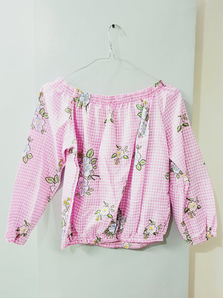 Pink off shoulder gingham floral