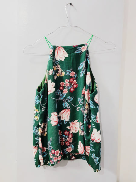 Green halter floral spag top