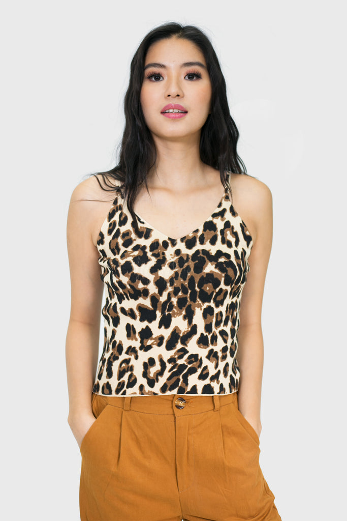Cream leopard v neck spag top