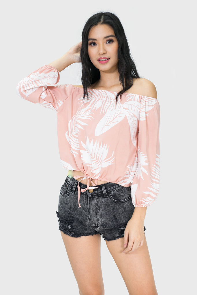 Pink leaf off shoulder longsleeve with ribbon