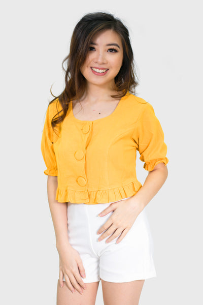 Mustard short sleeve with big button top