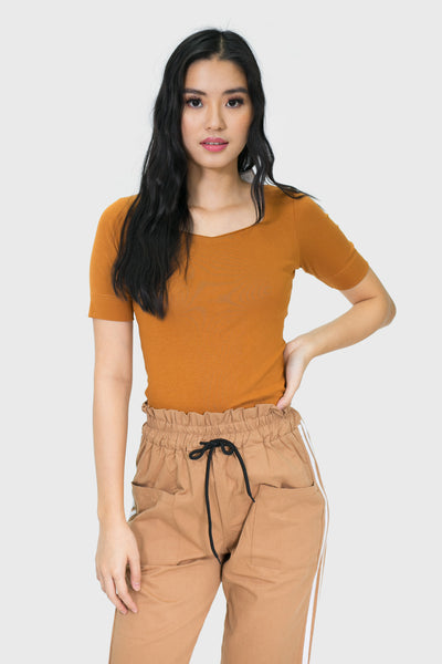 Brown three fourth square neck top