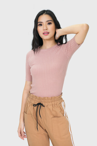 Pink soft fabric embedded top