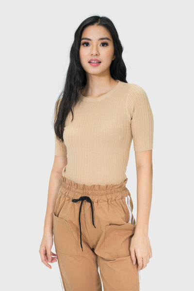 Mocha soft fabric embedded top