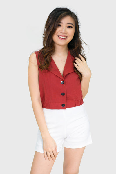 Coral button down sleeveless collar top