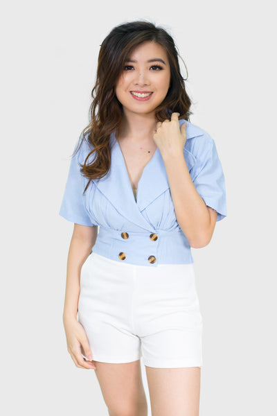 Blue four button v neck flap top