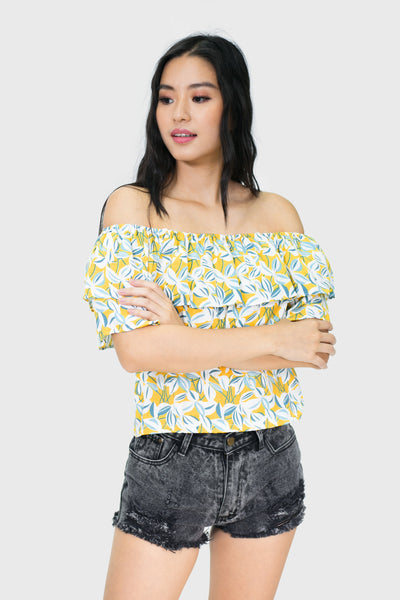 Yellow leaf floral off shoulder