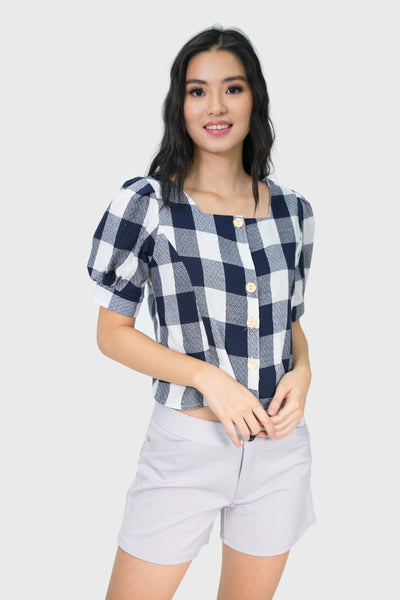 Black gingham sweetheart top