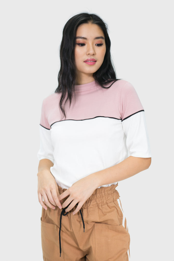 Pink short sleeve with white accent