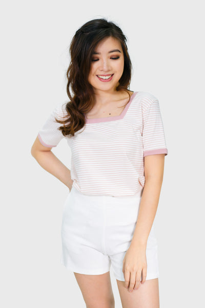 Pink stripes square neck top