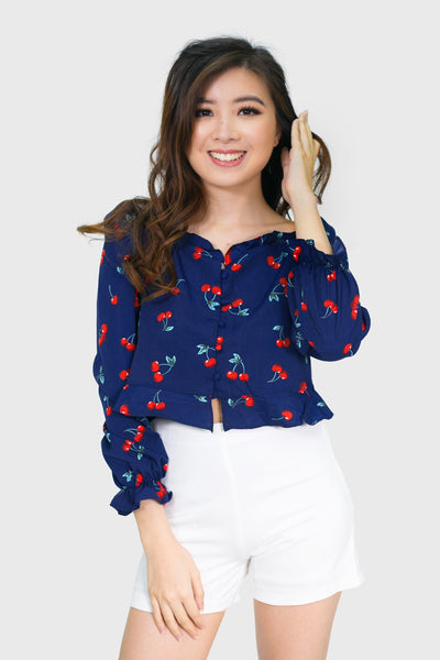Navy blue Cherry bomb off shoulder  longsleeves