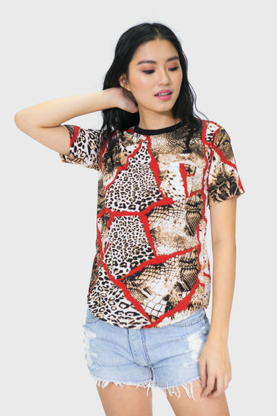 Red leopard and snake with black piping round neck