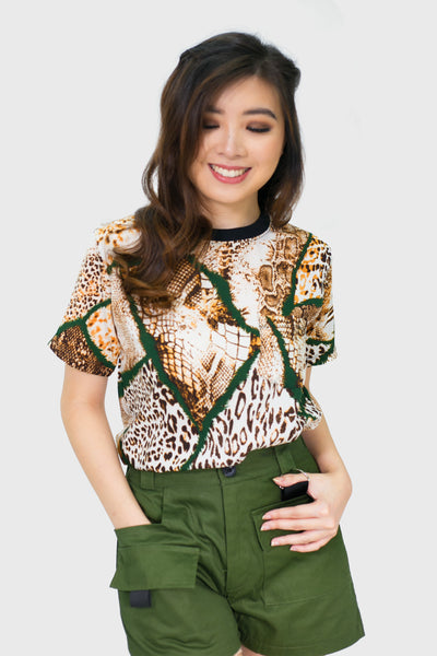 Green leopard and snake with black piping round neck