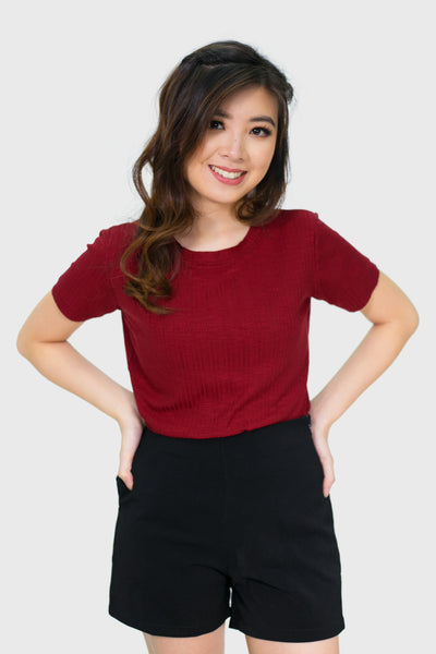 Maroon soft texturized pleated top