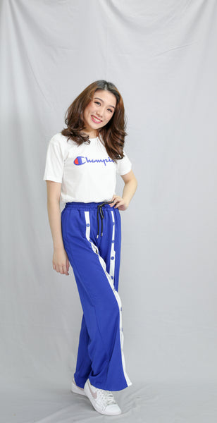 Royal blue pants with center detachable slit