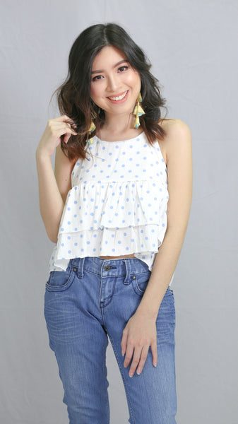 Blue polka dots spag top with tie back