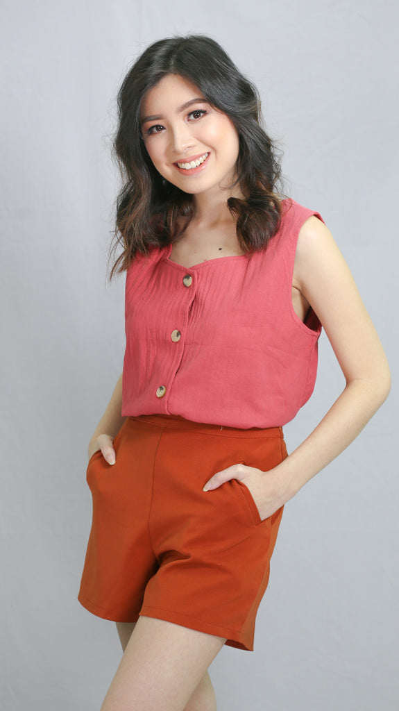 Apricot button down linen sleeveless top