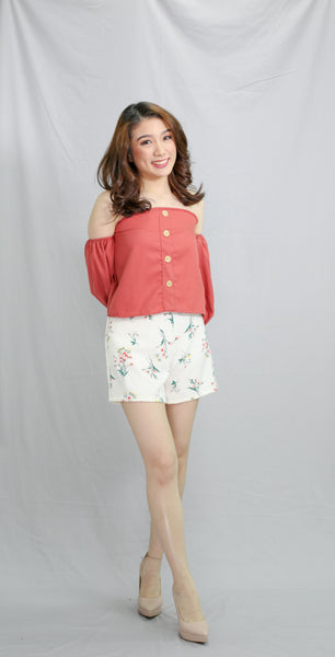 Apricot tube button down with garter longsleeve