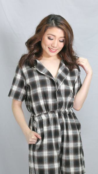 Black tartan button down romper