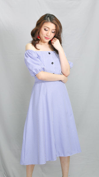 Blue Pinstripes buttons off shoulder midi dress
