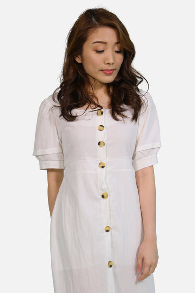 White linen button down with wide hem