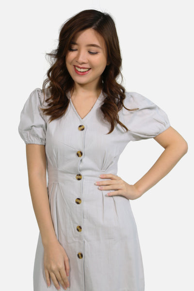 Light grey catcha button down skater dress with puffy sleeve