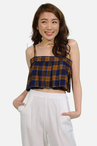Navy blue and yellow tartan pleated crop top