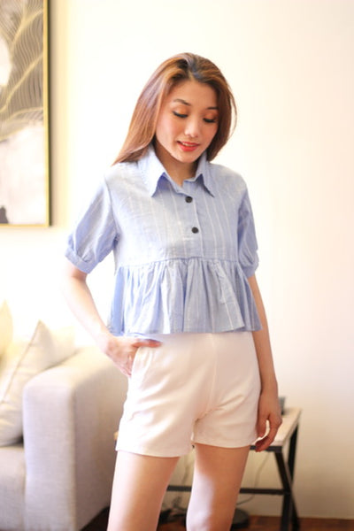Blue pinstripes with collar top
