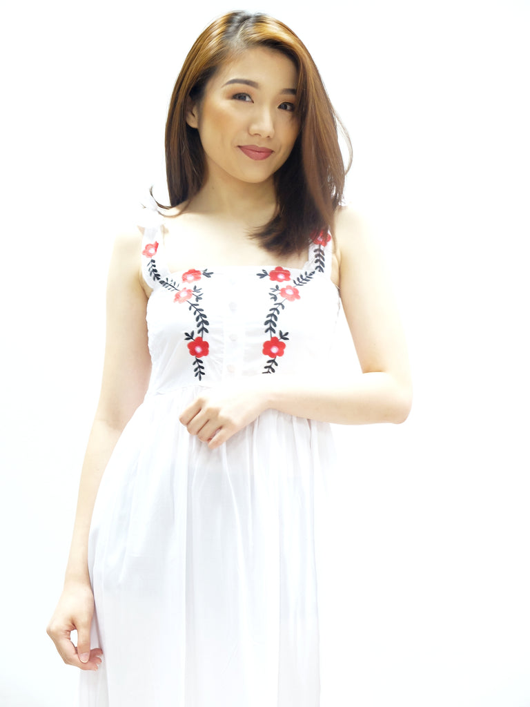 White thick strap skater embroidered dress
