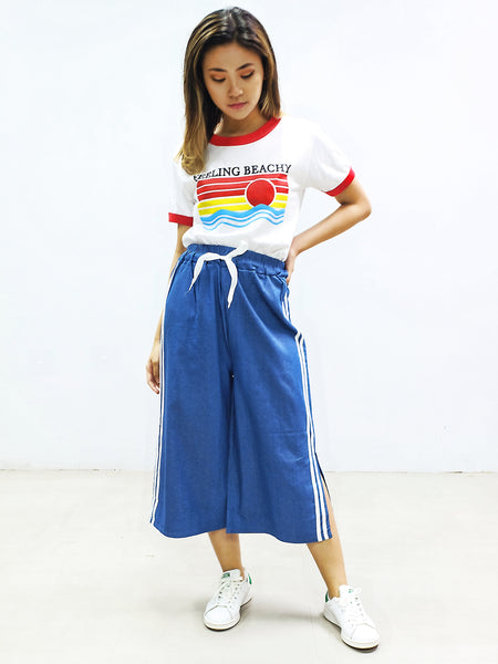 Track Denim culottes with slit