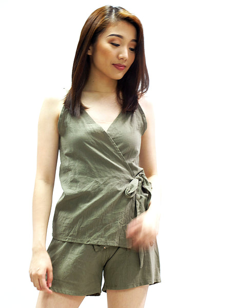 Green spag wrap top and shorts