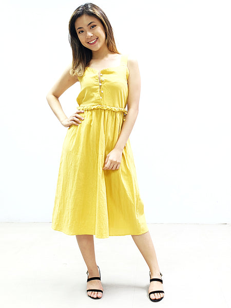 Yellow thick spag button down skater dress