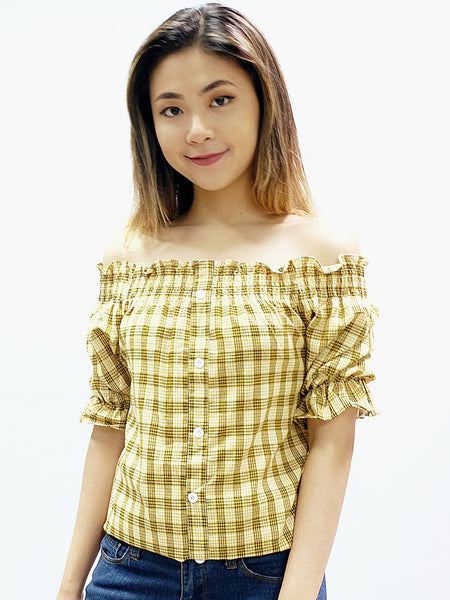 Yellow tartan off shoulder button down