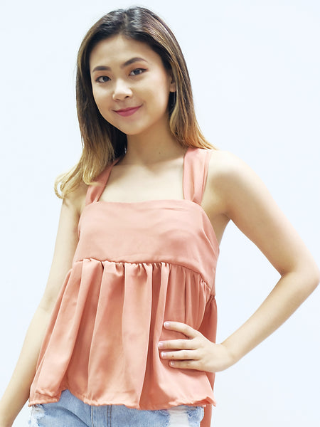 Light apricot spag top with ribbon back